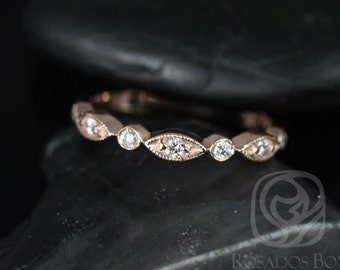 Original Bead & Eye 14kt Rose Gold Vintage Style Diamond HALFWAY Eternity Band (Other Metals and Stone Options Available)
