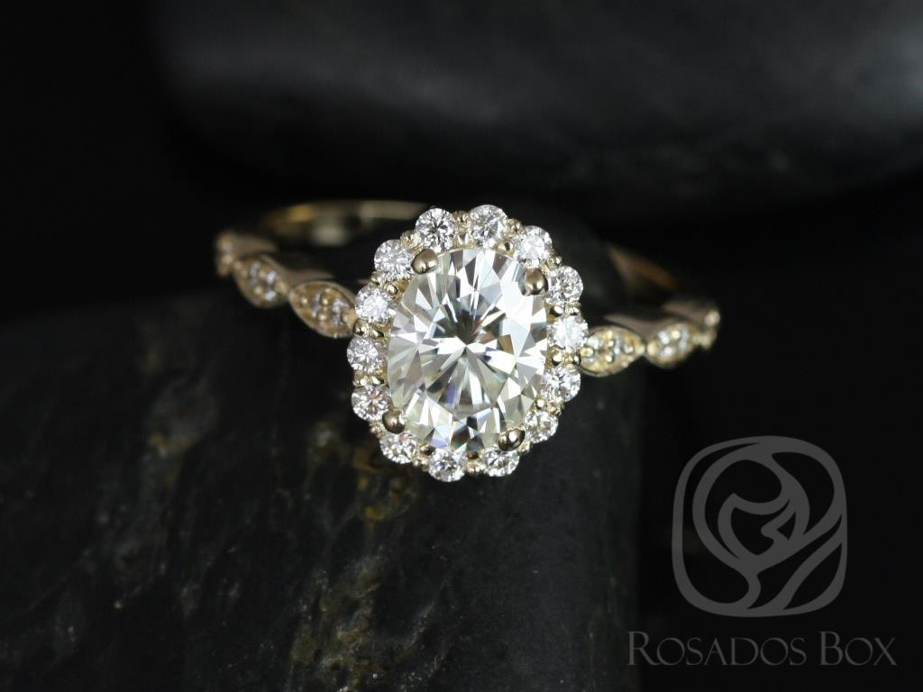 Jubilee 8x6mm Engagement Ring 14kt Yellow Gold Oval F1 Moissanite and Diamon