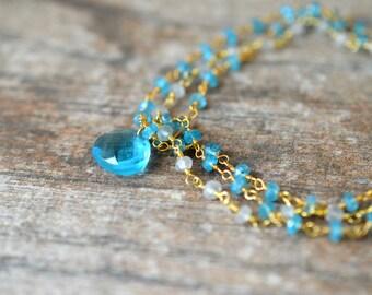 Blue apatite bracelet Multi layer bracelet Multistrand bracelet Delicate gemstone bracelet Rosary chain bracelet Briolette charm bracelet