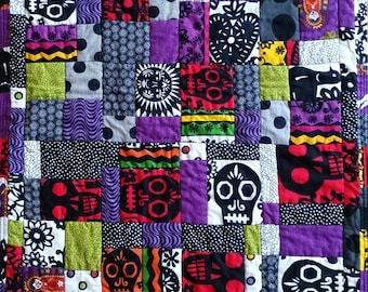No. 31 Fractured Four-Patch (Copyrighted), Day of the Dead Miniature Art Quilted Table Mat