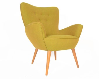 Danish Mid Century Modern Lounge Chair in Vivid Green