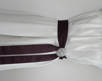 Simple Bridal Sash with Brooch in Eggplant or Any Color,Matte Satin Sash,2 inch Wide,Bridesmaids Belt