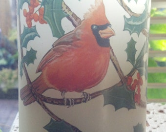 Vintage Red Cardinal Pillar Candle Flameless Candle Size C Battery operated