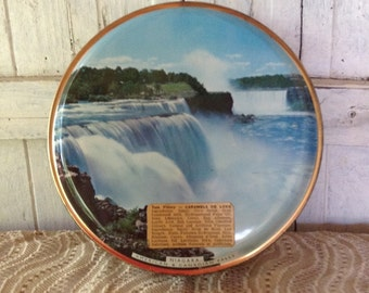 Round Candy Tin Can Tom Fillery Blue Gold Niagara Falls Picture Gift Box Food Storage Container Travel Souvenir