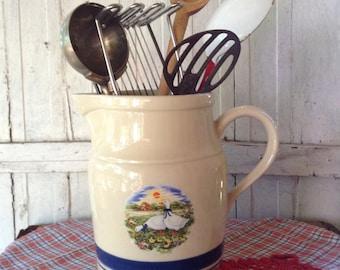 Roseville Ohio USA, Friendship Pottery, Farmhouse Pitcher, Utensil Holder, Country Decor, Rustic Decor, Beverage Server