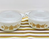 Vintage Pyrex #472 Bake Serve & Store Casserole, Butterfly Gold, Cinderella Style, Circa 1960-70's, Ovenware USA, Gold Daisy, 2 Available