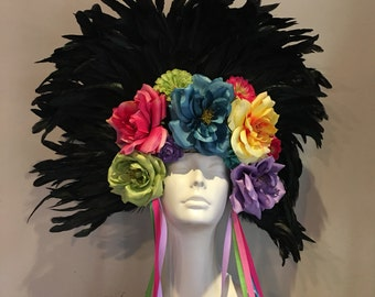 Day of the Dead- Frida Kahlo Headdress- Flower Headpiece- Flower Garden- Frida Kahlo Headband- Burning Man Headpiece -Dia los Muertos