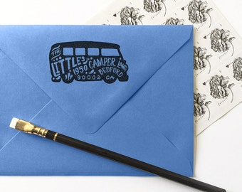 VW BUS Silhouette Return Address Rubber Stamp