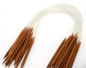 """Circular Knitting Needles - 24""""/60cm - 18 Different Sizes - Plastic Kink Free Tube - Carbonized Bamboo - Ready To Ship"""