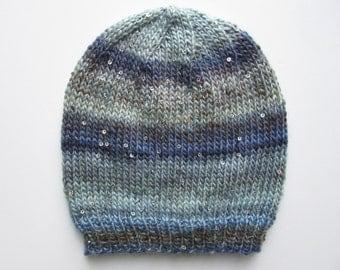 Sequin Stripe Slouchy Beanie Hat, Women Hand Knit Crochet Loose Fit Hat, Chunky Wool- Blue, Navy, Grey, Gray