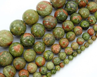 Natural Unakite Gemstone Round Bead 15'' 2mm 3mm 4mm 6mm 8mm 10mm 12mm 14mm Great For Jewelry Design