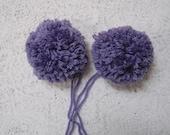 Handmade Yarn Pom Poms Lavender Size Large - Set of 2