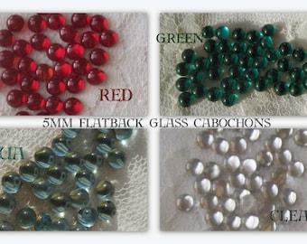 Vintage, 5MM, Round, Flatback, Cabochon, Glass, Crystal Clear, Siam, Red, Aquamarine, Emerald, Green, Crystal, Rhinestone,