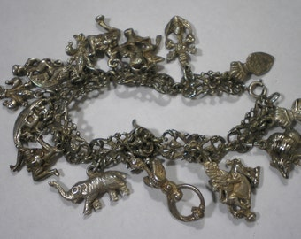 Vintage Sterling Silver 800 Silver Peruzzi Charm Bracelet 7 Inches Long 53.8 Grams Gothic Look