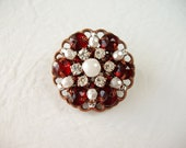Small Red Rhinestone Brooch. Vintage Style Brooch Red & White. Valentines Day Gifts. Rhinestone Jewelry. Fashion Accessories Gift Valentine