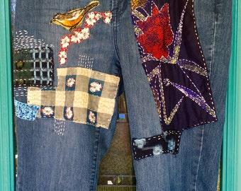 BORO BOYFRIEND JEANS, Boro Fabric Patches, Vintage Japanese Textiles, Gypsy Girl, Boho Lady, Upcycled into Wearable Art, Size Large