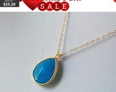 Sea Blue Jade Gold Pendant Necklace - Bridesmaid Jewelry Bridesmaid Gift ,Wedding jewelry, orchid, christmas gift, cocktail jewelry