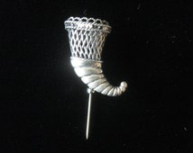 Lovely Vintage Tussie Mussie Posey Flower Holder Heavy Sterling Silver Possibly by Hand & Hammer Pin Brooch Stickpin