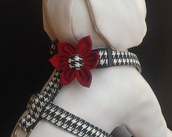 Dog Harness Flower/Bow Tie Set - Black & White Houndstoothoth  - size XS, S, M, L
