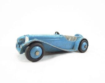 Vintage Dinky Toy, Jaguar SS Sports Car Model No. 38F, Vintage Diecast, Playworn Condition, Blue, Gray Interior, Blue Hubs, No Windscreen