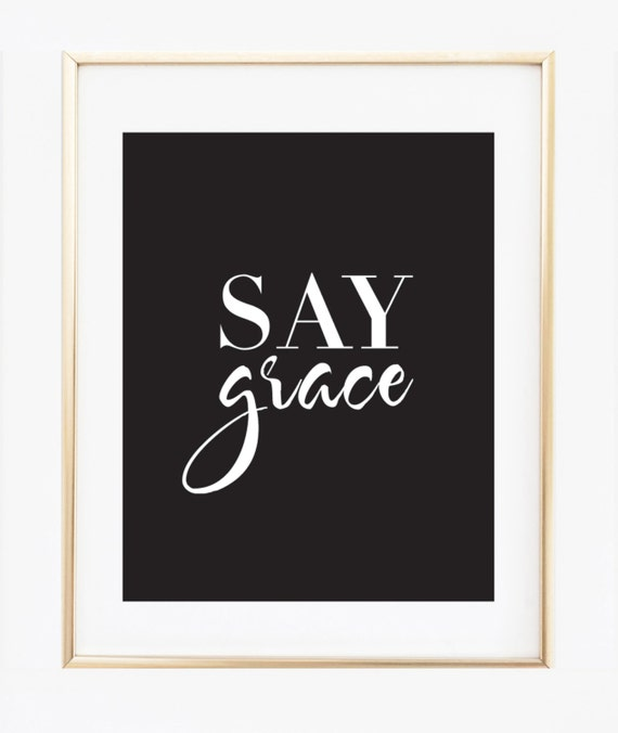 Say grace kitchen decor saying grace wall art print for Dining room artwork prints