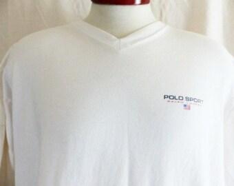 vintage 90's Ralph Lauren Polo Sport solid white v-neck graphic t-shirt red white blue u.s. flag designer logo print unisex loose boxy XL