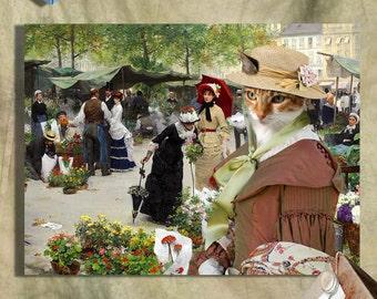 Calico Cat Fine Art Canvas Print - The Flower Market