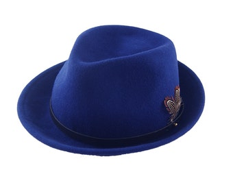Blue Felt Hat , Fedora Felt Hat , Winter Hat , Women's Hat , Felt Hat For Women , Fedora Hat For Men , Men's Fedora , Men's Hat