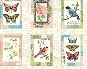 Vintage Journal Postcards Birds 100% Cotton Quilting Panel Fabric Makower