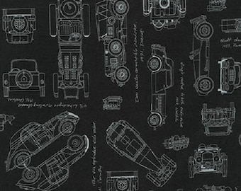 Fat Quarter Vintage Car Blueprints On Black 100% Cotton Quilting Fabric