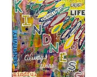 """9x12 print - """"Kindness always wins"""" artwork"""
