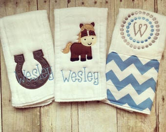Personalized baby boyburp cloths - horse