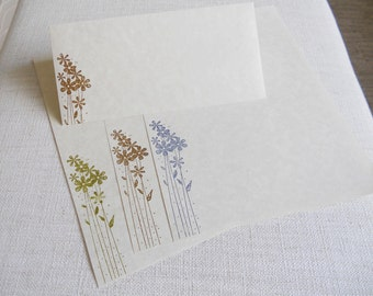 Large parchment paper stationery set, writing paper hand cut and stamped with a fresh spring flowers. Set of 30.