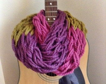 Knit Scarf ||Ready to Ship|| Infinity Knit Scarf ||  Chunky Knit Scarf || Circle Scarf || Fig Purple Snapdragon Green Raspberry Pink