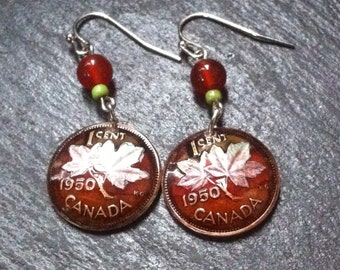 1950 Canadian Maple Leaf Penny Earrings with Agate Beads  **DISCONTINUED COPPER PENNIES** Lucky Pennies
