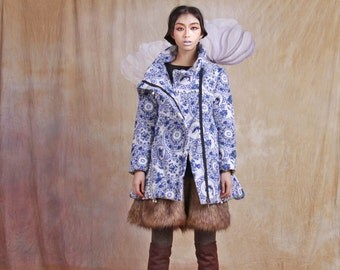winter warm cotton-padded jacket / coat long winter linen coat--5a