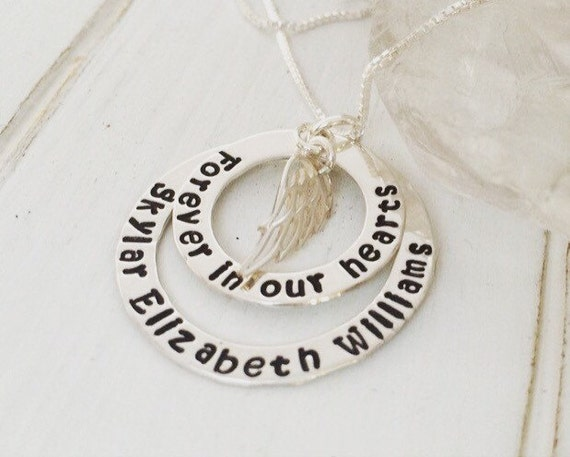 I Miss You Necklace, Personalized Remembrance Necklace, Sterling Silver, Custom Memorial Necklace, In Memory of Necklace, Angel Wings Charm