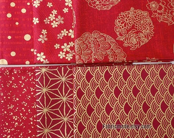 Kimono Cotton Fabric, Dark Red Cotton With Gilding Gold Wave Sakura Flower Clumps Vintage Style Fabric- 1/2 Yard
