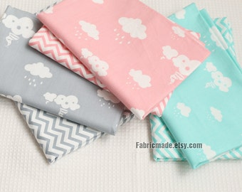 Quilt Cotton Fabric, Cloud Chevron Cotton Fabric In Pink Grey Green Cotton Fabric - 1/2 Yard