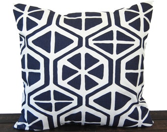 Pillow, Throw Pillow, Pillow Cover, Cushion, Decorative Pillow, Vintage Indigo Navy Blue White Aiden