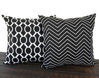 Throw pillow covers Pair of Two black white geometric modern contemporary home decor cushion cover pillow shams Chevron Sydney