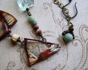 Catch of The Week, assemblage jewelry, mixed media jewelry, fluorite nugget, ceramic fish, asymmetrical necklace, light aqua, AnvilArtifacts