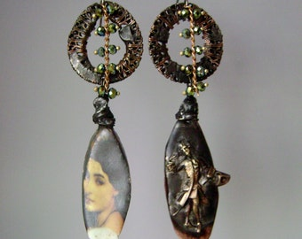 The Glance, asymmetrical assemblage earrings, soldered jewelry, filigree earrings, scorchedearth, unique mixed metal jewelry, AnvilArtifacts