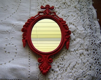 Red mirror oval metal painted mirror made in Italy vintage  wall mirror small mirror French  Country red decor accent mirror