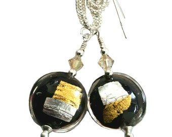 Vicenza Gold and Silver Foil Murano Black Lentil Glass earrings, Luminous  Swarovski crystals and Sterling silver  box chain earwires