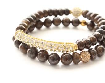 Bronzite Gemstones and  Gold Pave Cubic Zirconia Beaded Bar Bracelets