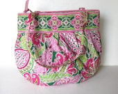 """Vintage Vera Bradley Large shoulder tote, French  quilted fabric handbag,  pink and green, 14"""" x 12"""", Women's Accessory, gift idea"""