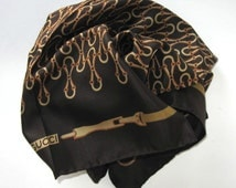 """70's Vintage Gucci Equestrian Silk Scarf, Woman's Accessory, Brown and gold, 26"""" x 26"""", hand rolled hem, Made in Italy, gift idea"""