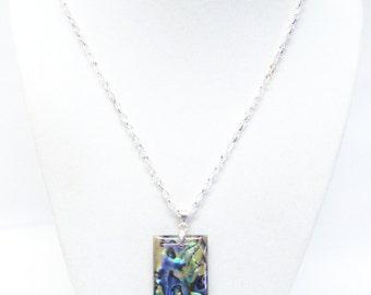Abalone Rectangle Multi Color Pendant Necklace