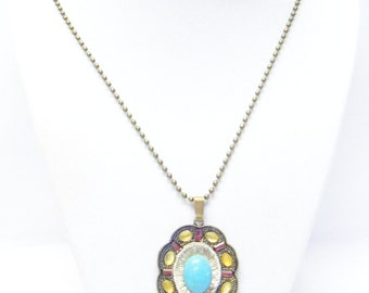 Oval Antique Bronze Vintage Groove w/Turquoise Cabochon Necklace